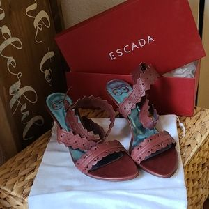 ESCADA red leather high heels sz 9.5